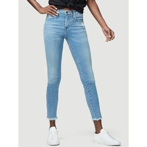 FRAME Le High Raw Hem Micro Shredded Skinny Jeans